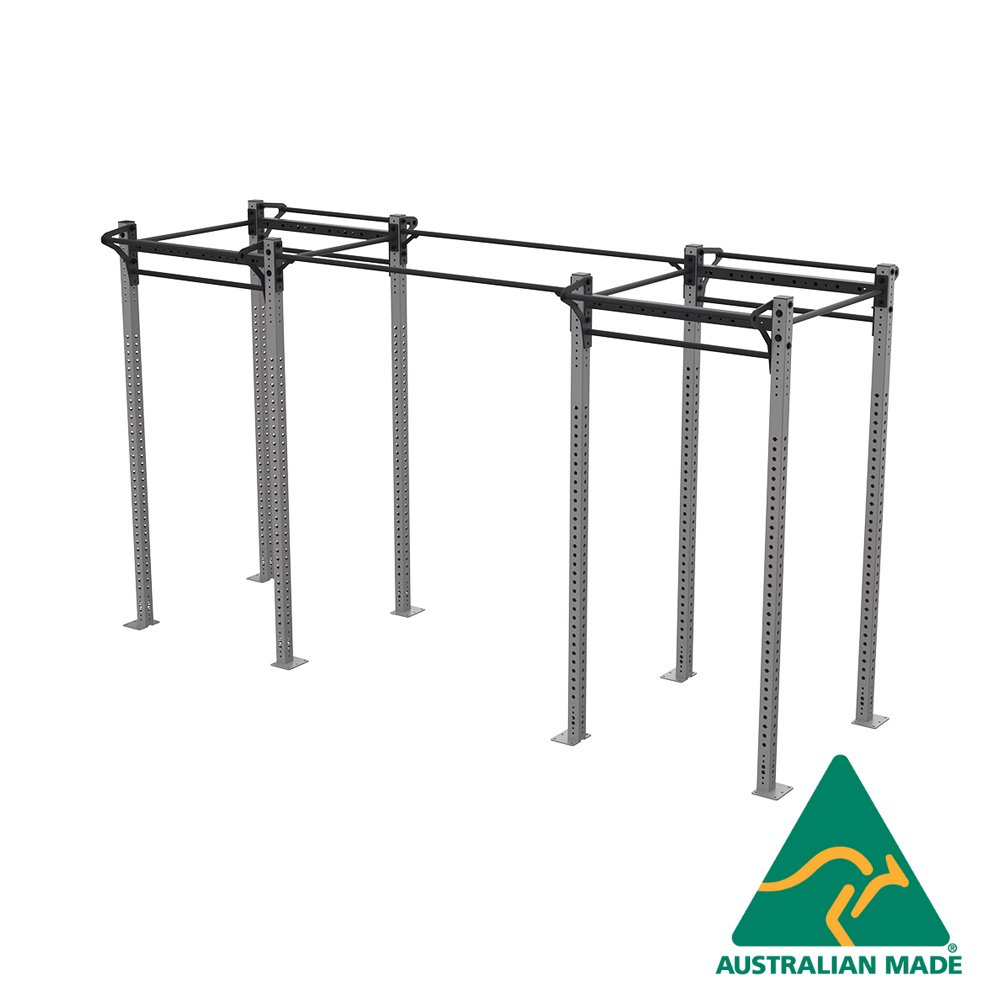 Free-standing dual cell rack joined with single pipes