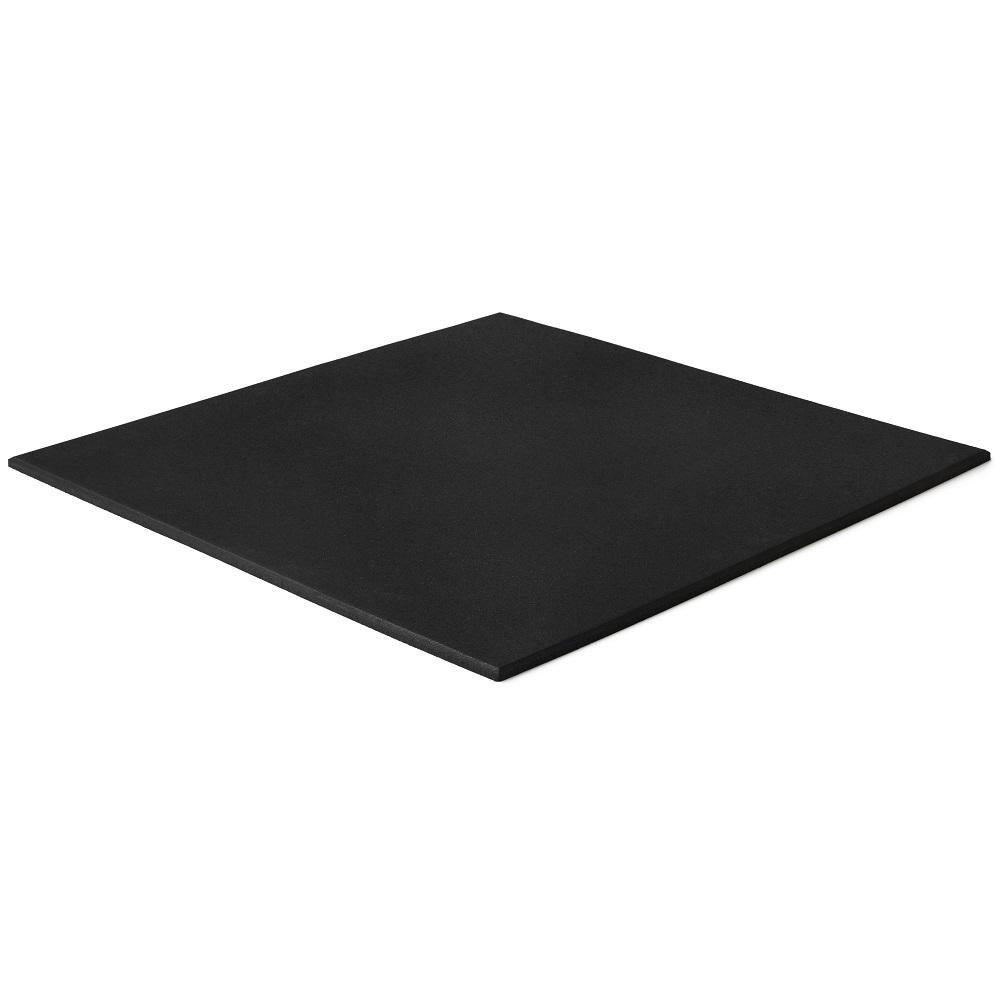 Black rubber gym floor tiles. Square edge flat tile.