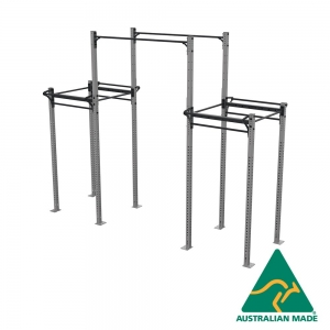Free standing dual cell rack joined with height extended single pipes