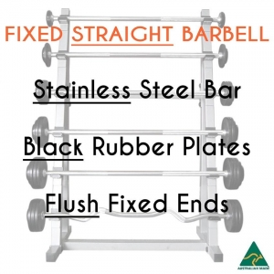 Stainless bar/Blk Rub plates/Flush fixed