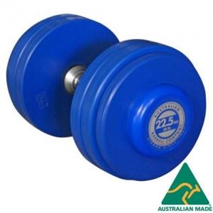 Fixed dumbbells - blue rubber plates