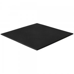 Black rubber gym floor tiles. Square edge flat tile.